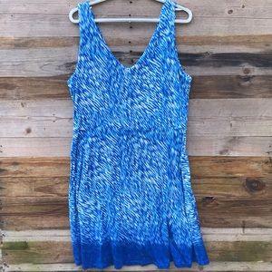 Athleta | Yoga Blue Reef Print Dress size XL